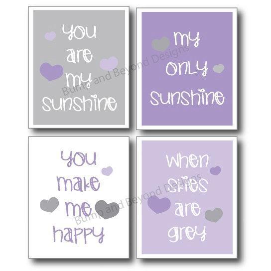 NURSERY WALL ART Purple and Grey Girl Toddler Room Decor You Are My Sunshine Set