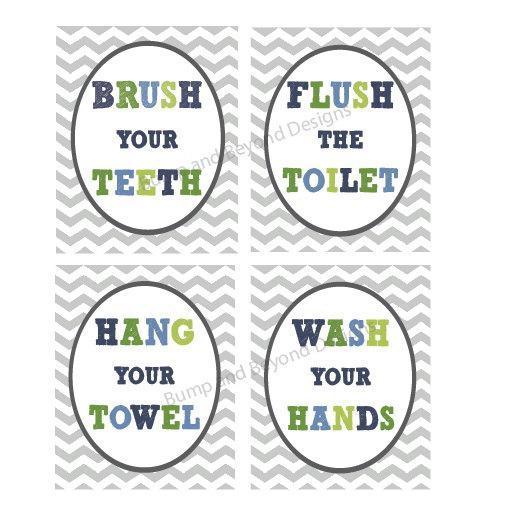 Kids BATHROOM WALL ART Digital Printable Wash your hands Brush your teeth Hang