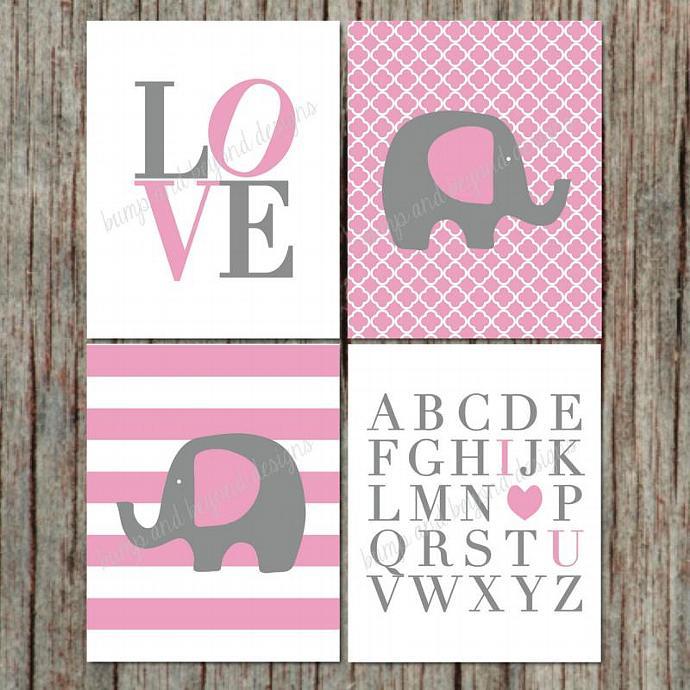 Digital Light Pink Grey Set of 4 Nursery Wall Art Printable Elephant Love ABC's