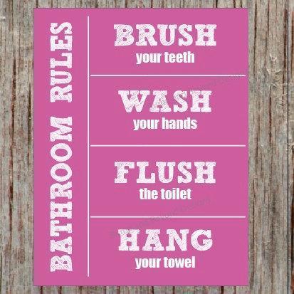 Bathroom Rules BATHROOM WALL ART Digital Wash your hands Brush your teeth Hang
