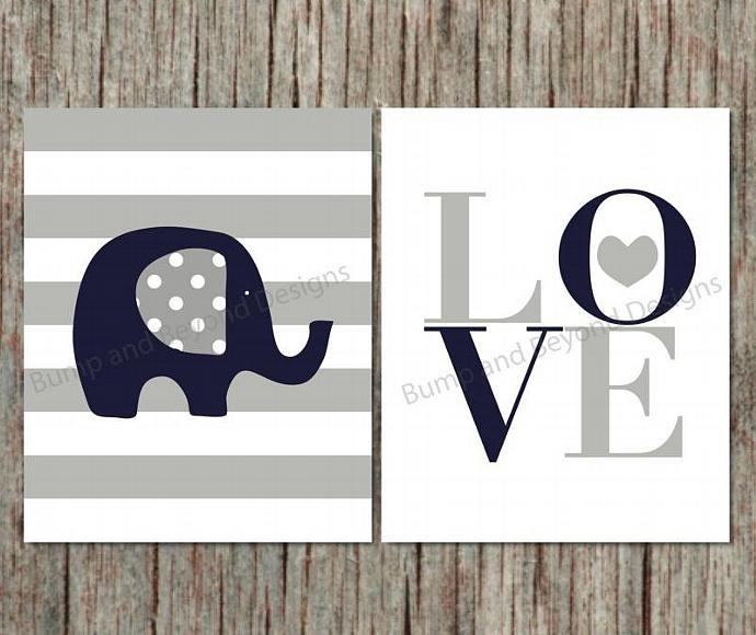 Charmant Boy Nursery Wall Art Printable Elephant Decor Nursery Kids Bedroom Wall Art  Navy