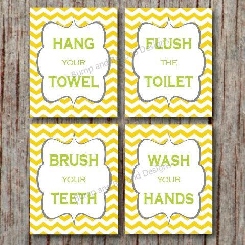 BATHROOM DECOR Kids Bathroom Wall Art Wash your hands Brush your teeth Digital