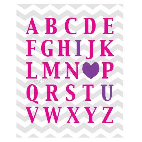NURSERY WALL ART Girl Pink Purple ABCs I Love You Nursery Bedroom Wall Art