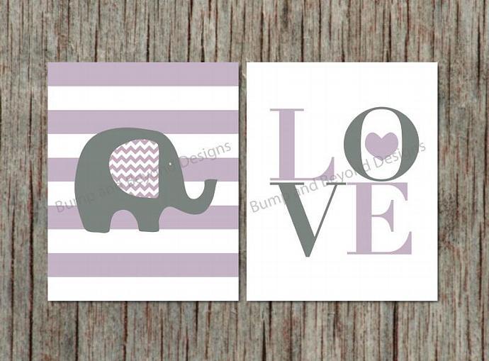 Nursery Wall Art Elephant Girl Room Decor Purple Grey Printable Nursery Bedroom