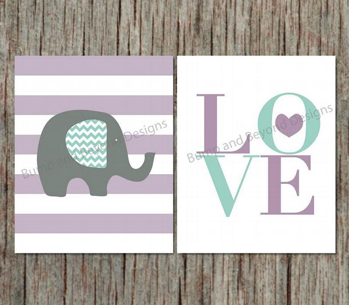 Nursery Wall Art Decor Elephant by bumpandbeyonddesigns on Zibbet