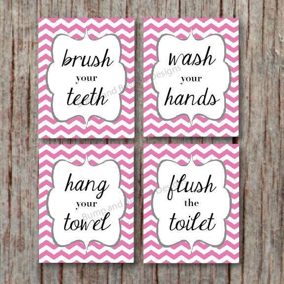 BATHROOM WALL ART Kids Bathroom Wall Art Wash your hands Brush your teeth Hang