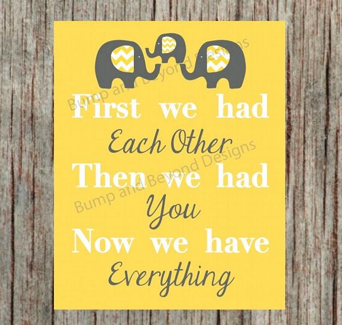 Elephant Nursery Decor Yellow Grey Wall Art Baby Girl Boy Kids Room Decor