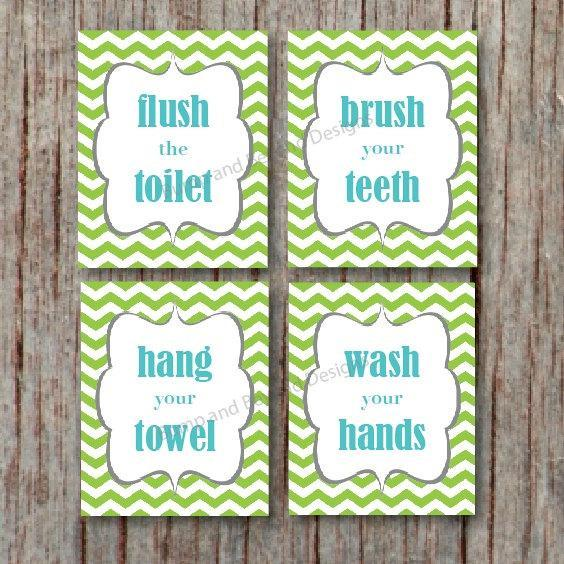 BATHROOM WALL ART Digital Kids Bathroom Wall Art Wash your hands Brush your