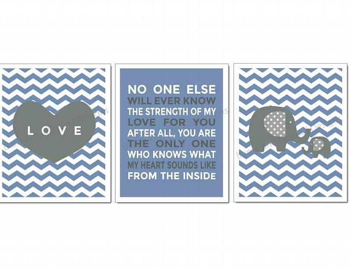 NURSERY WALL ART Elephant Nursery Decor Blue Grey Set of 3 Baby Boy Kids Room