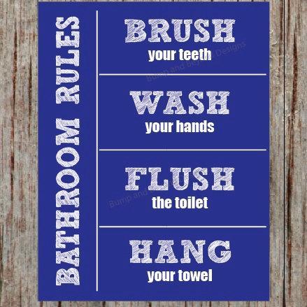 BATHROOM RULES Wall Art Kids Bathroom Wall Art Wash your hands Brush your teeth