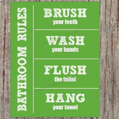BATHROOM RULES Wall Art Kids Bathroom Wall Art Wash your hands Brush your teeth