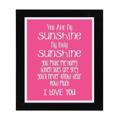 You Are My Sunshine Quote Printable NURSERY WALL ART Pink Nursery Decor