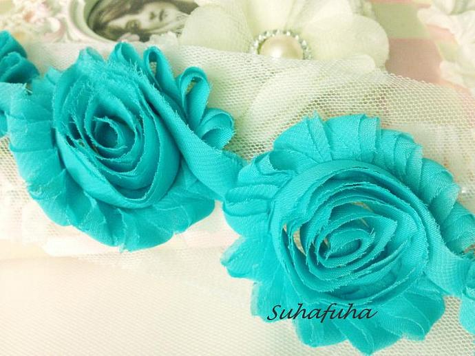 1 yd AQUA Shabby Chiffon Frayed Rose Flower Trim for DIY Headbands, garters,