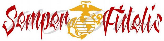 USMC Semper Fidelis Vinyl Decal Semper Fi Marine Corps - Sticker Window Car