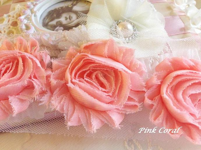 1/2 yd PINK CORAL Shabby Chiffon Frayed Rose Flower Trim for DIY Headbands,