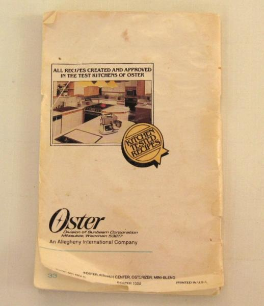 Oster Food Processor Accessory Instruction Manual Recipe Booklet 5900 (from
