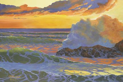 """A Colorful Sea"" Giclee Paper Print Sunset Seascape by Carol Thompson"