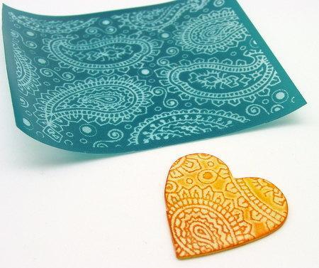 Paisley Silkscreen Design 1 for polymer clay, paper, fabric and more