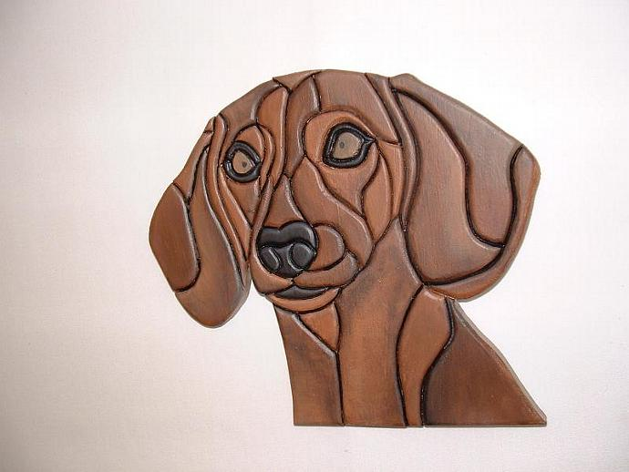 Dachshund, Wood Sculptured Wall Decor.