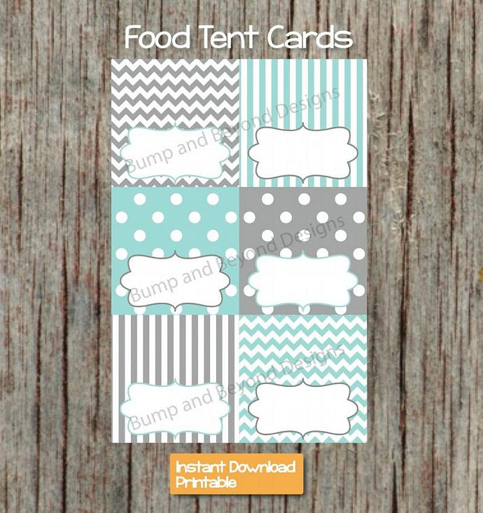 Party Supplies Food Tent Cards Light Teal Grey Printable diy Decorations Baby