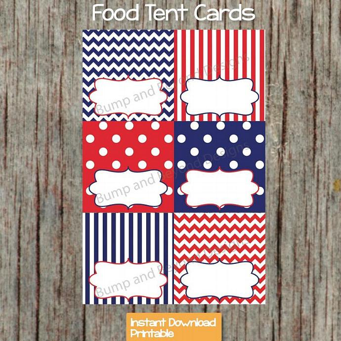 Navy Blue Red Food Tent Cards Digital Printable diy Party Supplies Name Place