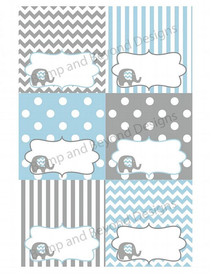 Food Tent Cards Elephant Baby Shower DiY Party Decorations Powder Blue Grey