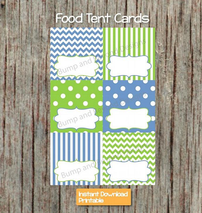 Food Tent Cards Party Supplies Digital Printable Place Cards Boy Baby Shower