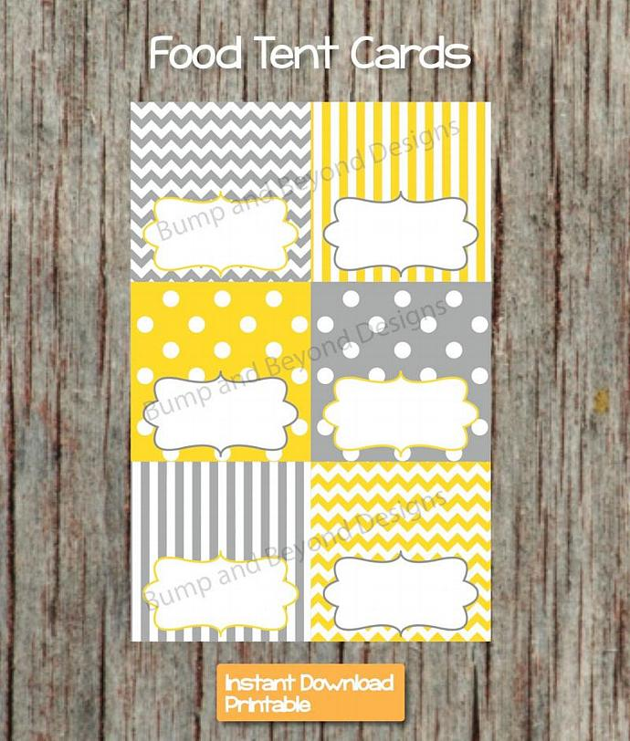 Yellow Grey Food Tent Cards Digital PDF Digital Printable Party Supplies Boy
