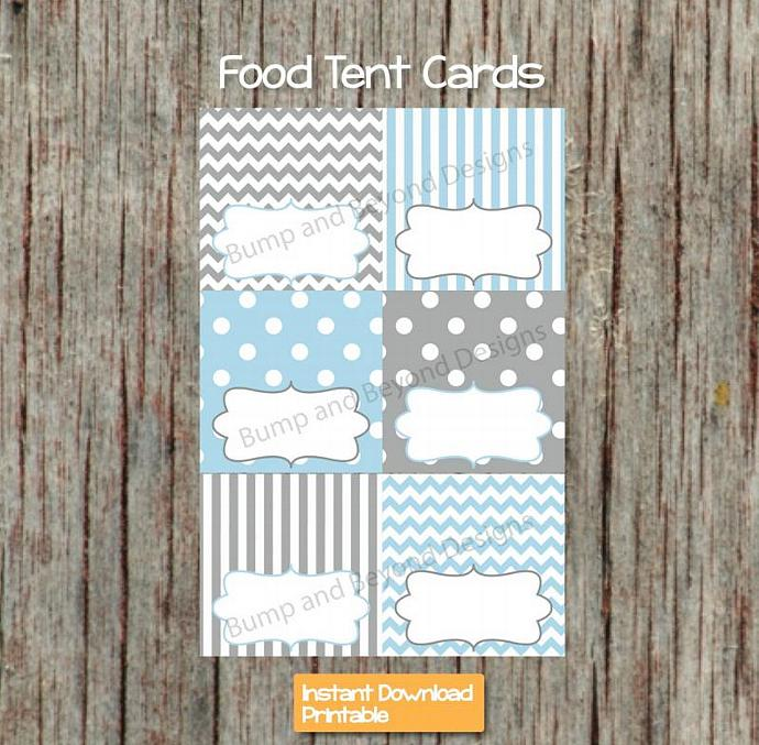 Baby Shower Food Tent Cards Baby Powder Blue Grey Printable Party Supplies Baby