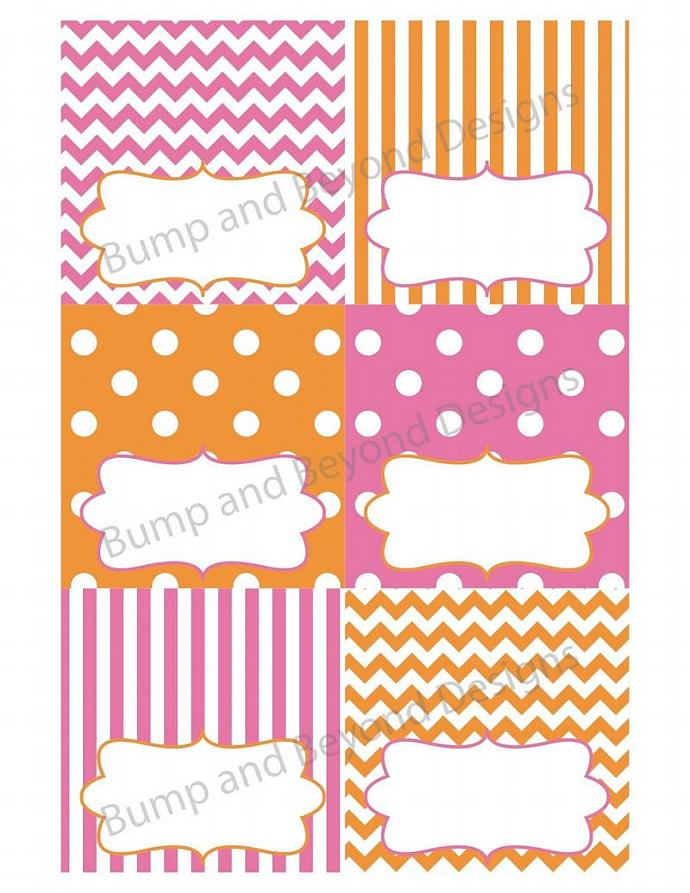 Orange Pink Food Tent Cards diy Name Cards Buffet Labels Digital PDF Digital
