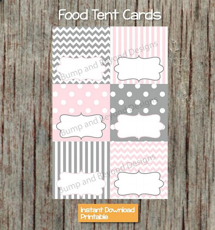 Food Tent Cards Digital Buffet Labels Name Cards Powder Pink Grey PDF Printable