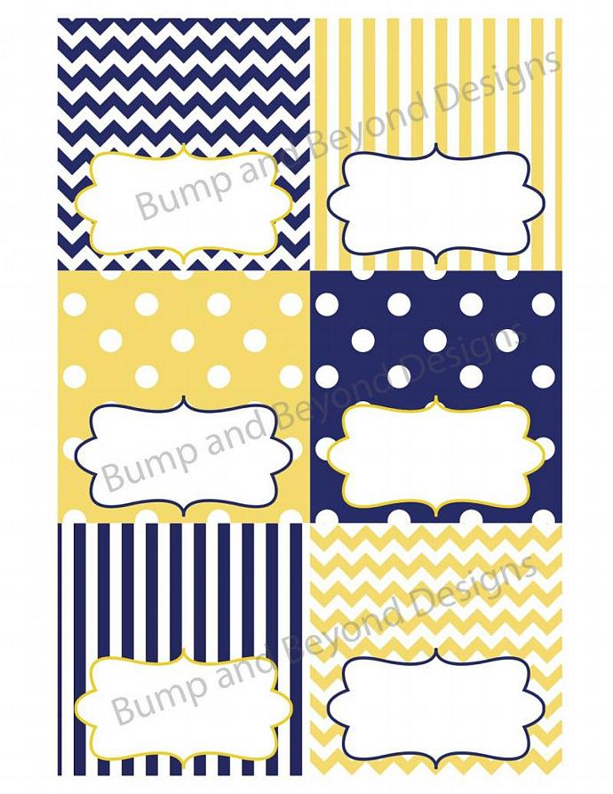 Baby Shower Food Tent Cards Yellow Blue Digital PDF Digital Printable Party