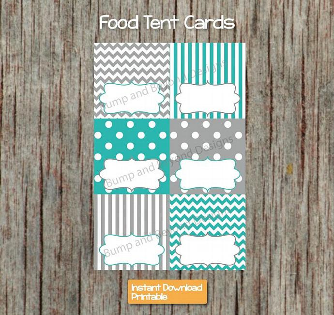 Baby Shower Food Tent Cards Digital Aqua Grey Printable Party Supplies Boy Baby