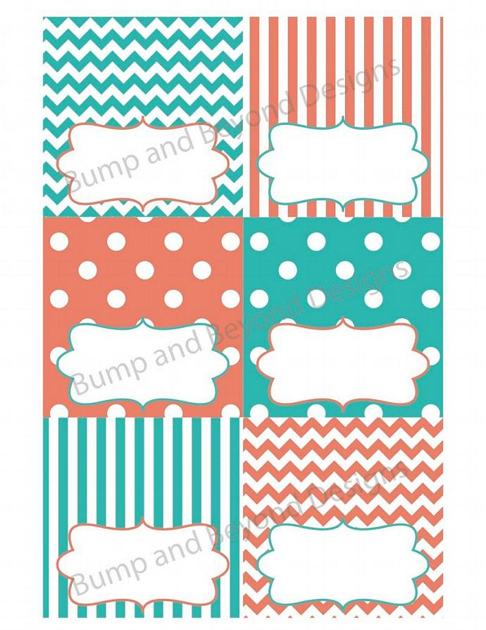 Food Tent Cards Labels Baby Shower Aqua Salmon Printable Name Cards Digital PDF