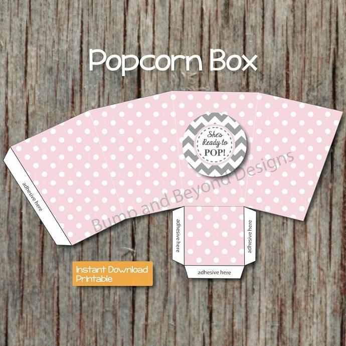 Ready to Pop Popcorn Box Baby Shower Favor Box DIY Popcorn Box Digital Treat