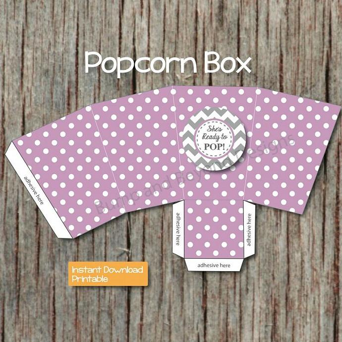 Ready to Pop Baby Shower Pregnant Mom Popcorn Box Party Favor Printable - DIY