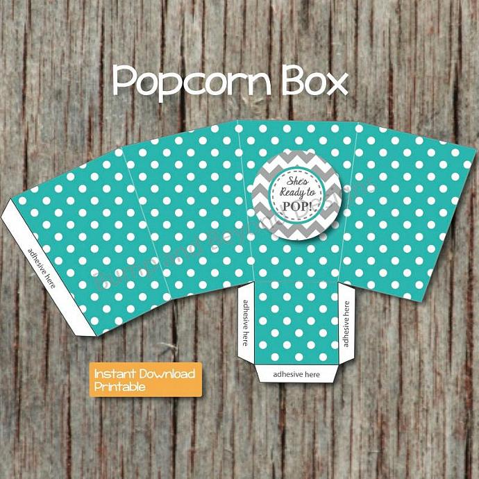 Popcorn Box Printable DIY Digital