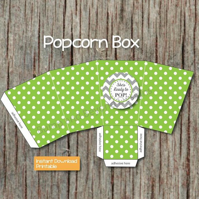 Printable Popcorn Box Digital Shes Ready to Pop Popcorn Boxes Baby Shower Favors