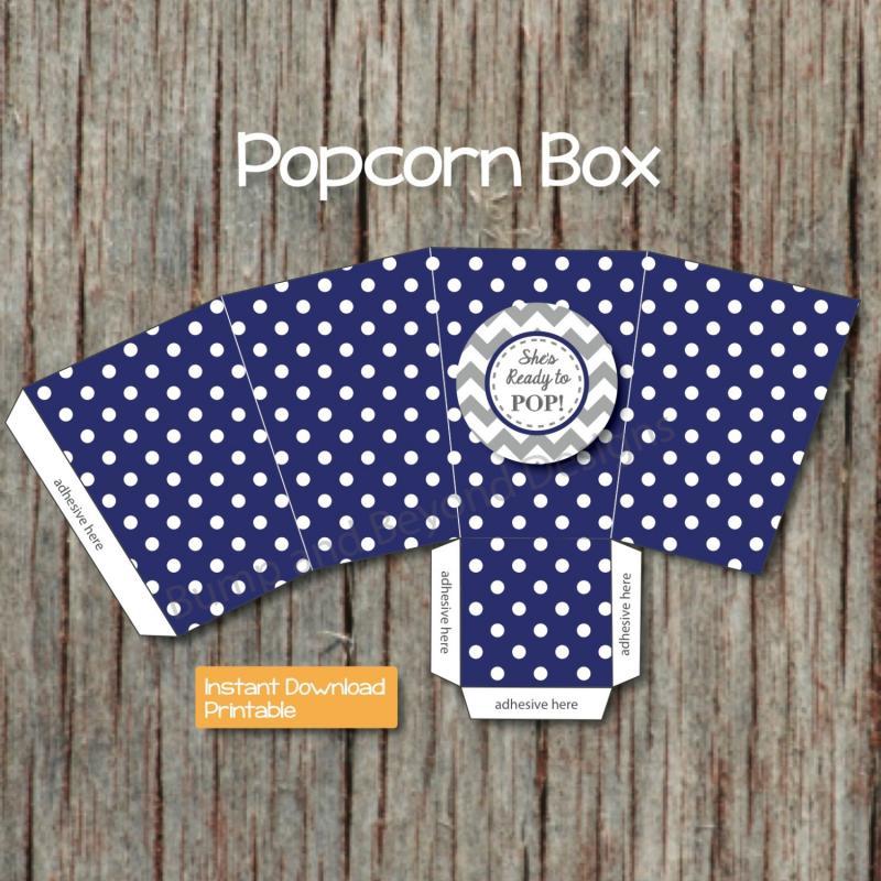 Blue Popcorn Favor Boxes : Shes ready to pop popcorn boxes baby bumpandbeyonddesigns