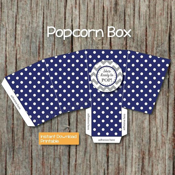 Shes Ready to Pop Popcorn Boxes Baby Shower Printable diy Favors Navy Blue Grey