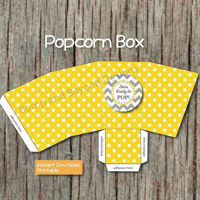 Yellow Grey Baby Shower She's Ready to Pop Popcorn Boxes diy Favor Treat Boxes