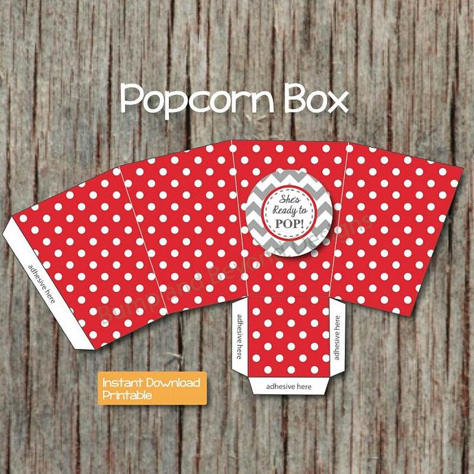 Digital Ready to Pop Printable Popcorn Treat Boxes Shes Ready to Pop Red DIY