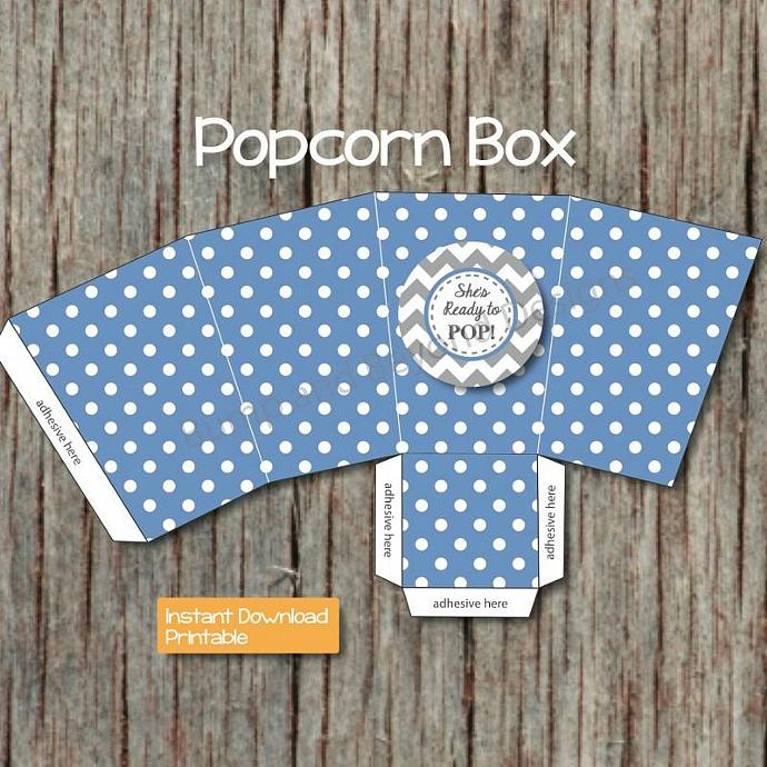 Shes Ready to Pop Popcorn Boxes Baby Shower Favors Printable Ocean Blue Grey diy