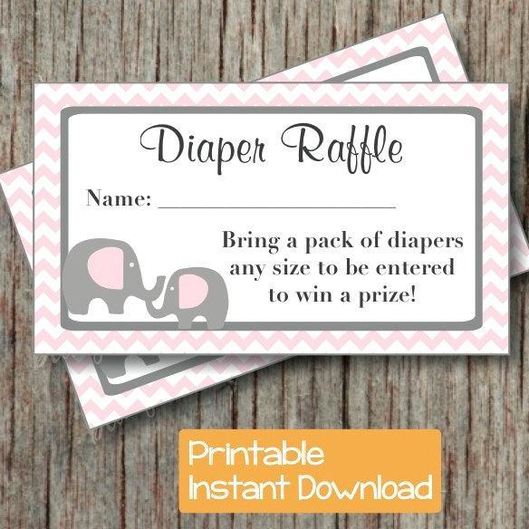 Exceptional Baby Shower Diaper Raffle Ticket Printable Baby Shower Party Powder Pink  Grey
