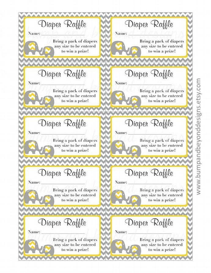 Yellow Grey Baby Shower Diaper Raffle Tickets Elephant Chevron Diaper Raffle