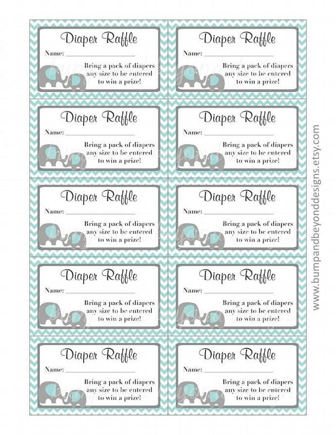 Baby Shower Diaper Raffle Tickets Digital Printable Elephant Raffle Tickets