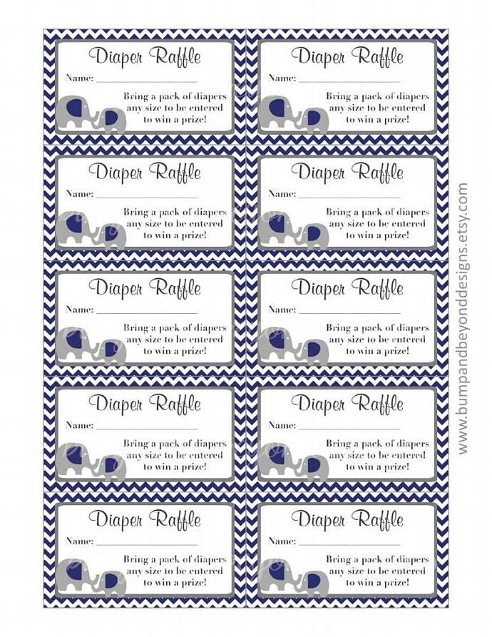 Diaper Raffle Tickets Baby Shower Party Navy Blue Grey Chevron Elephant Diaper