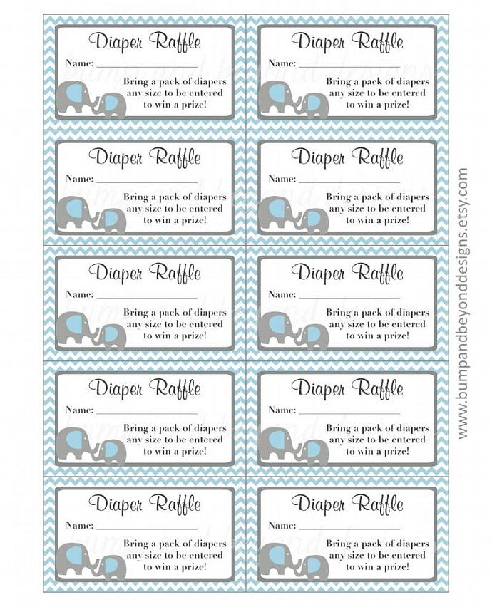 Elephant Diaper Raffle Tickets Digital Printable Raffle Tickets Baby Shower