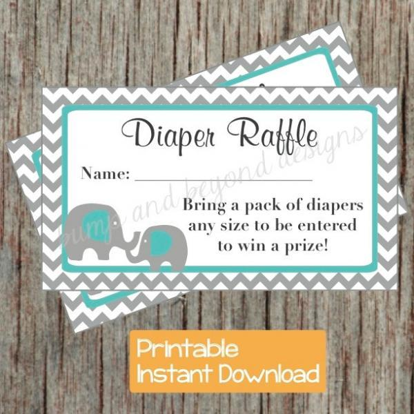 Diaper Raffle Tickets Baby Shower Aqua Grey Chevron Elephant Diaper Raffle