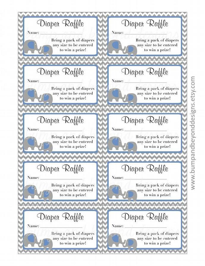 Baby Shower Diaper Raffle Tickets Ocean Blue Grey Chevron Elephant Diaper Raffle